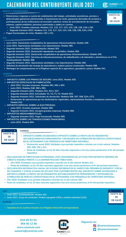 calendario del contribuyente julio 2021